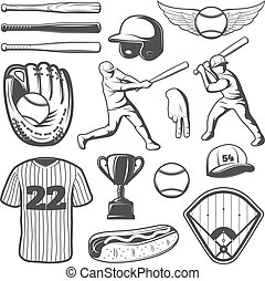 Baseball-Monchrome-Elemente.