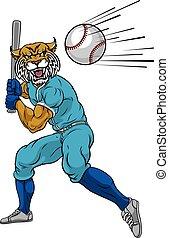 baseball- spieler, maskottchen, schwingen, fledermaus, wildcat