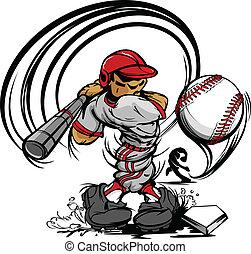 Baseball-Spieler-Zeichen-Schwingen