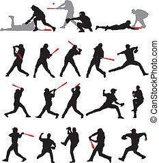 Baseball stellt Silhouette.