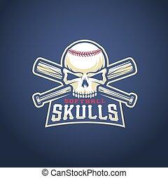 Baseball-Team-Logo-Vorlage. Schädel- und Fledermauszeichen. Softball-Head-Konzept. Sport Emblem mit prämierter Typografie.