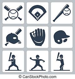 Baseball-Vektor-Icons eingestellt.
