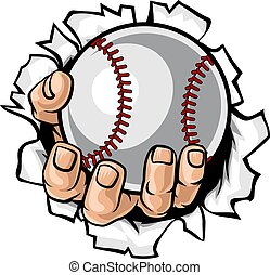 Baseballballhand reißt Hintergrund