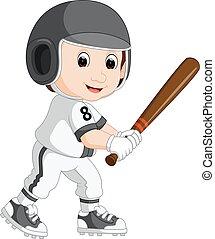 Baseballspieler-Kinder-Cartoon.