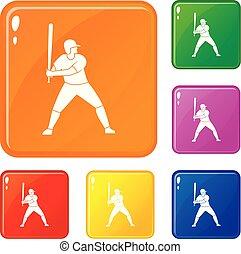 Baseballspieler mit Fledermaus-Icons setzen Vektorfarbe.