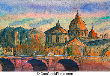 Basilika sant pietro, tiber River und ponte vittorio emanuele, vatican, rome, italy.