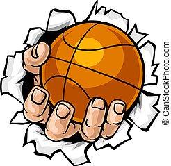 Basketball-Ball-Hand-Rücken Hintergrund