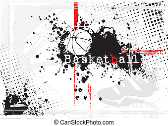 basketball, dreckige , hintergrund