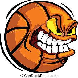 Basketball-Gesicht Cartoonball-Vektor.