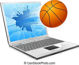 Basketballball-Laptop-Konzept