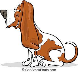 basset, hund, abbildung, karikatur