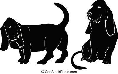 basset, silhouette, hund, vektor
