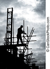 Bau auf der Baustelle des Gerüsts
