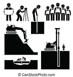 Bau Erdarbeiter-Icons.
