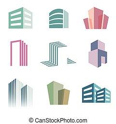 Bau Immobilien Icons Logo Vektorsatz.