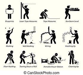 Bau-, Renovierungs- und Hausverbesserungssymbole.