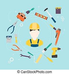Bau- und Farbwerkzeuge zur Reparatur und zur Verbesserung von Heimen. Vector Illustration.