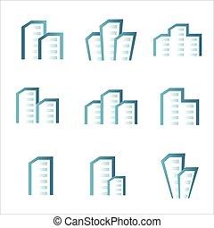 Bau von Immobilien Icons Logo Set.