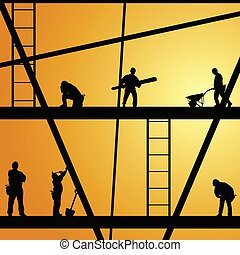 Bauarbeiter am Vektor Illustration