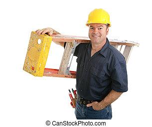 Bauarbeiter mit Leiter