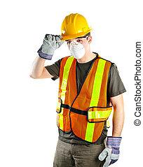 Bauarbeiter mit Sicherheitsausrüstung