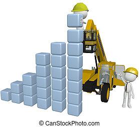 Bauausrüstung, Leute, die Geschäftskarten bauen