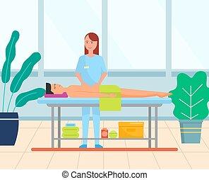 bauch, mann, erhält, magen, massage, abdominal, vektor