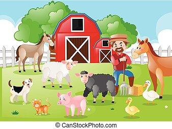 Bauern und Bauerntiere auf dem Hof.