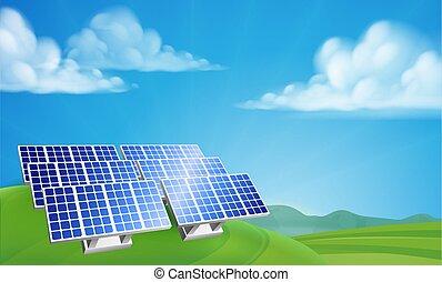 bauernhof, erneuerbar, macht, energie, sonnenkollektoren