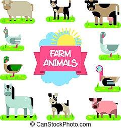 Bauerntiere bereit. Illustration in flachem Design.