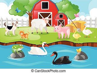 Bauerntiere, die auf der Farm leben.