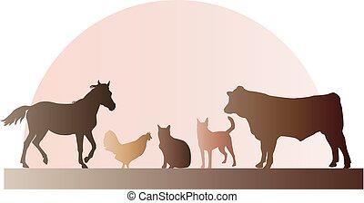 Bauerntiere illustrieren.