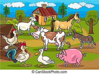 Bauerntiere, ländliche Szenen, Cartoon Illustration