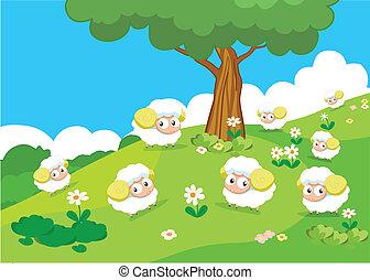 Bauerntiere mit Schafen.