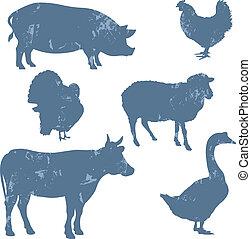 Bauerntiere, Vektorsilhouette