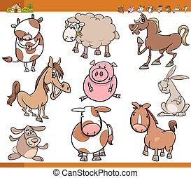 Bauerntiere zeigen Zeichentrickfilme.