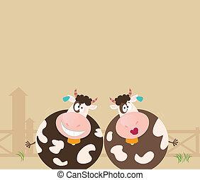 Bauerntiere: zwei glückliche Kühe