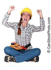 baugewerbe, ekstatisch, weibliche , worker.