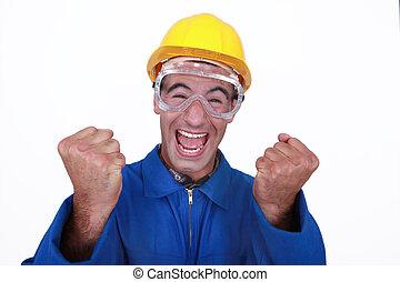 baugewerbe, ekstatisch, worker.