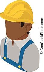 Bauingenieur afroamerikanisches Icon, isometrische 3d-Stil