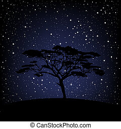 Baum über Sternennacht