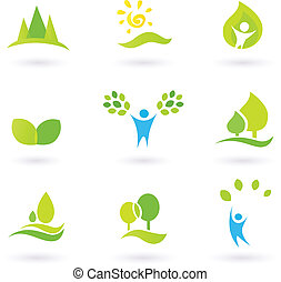 Baum, Blätter und Ökologievektor Icon Set (blau und grün)