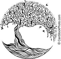 Baum des Lebens auf weißem Hintergrund.