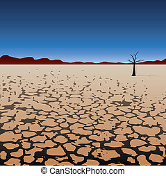baum, einsam, wüste, trocken, vektor