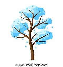 baum, fallender , snow., winter