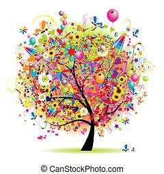 baum, glücklich, feiertag, lustiges, luftballone