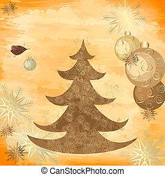 baum, grunge, weihnachten, hintergrund