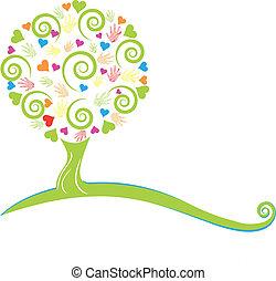 Baum, Herz, Hände und Blätter