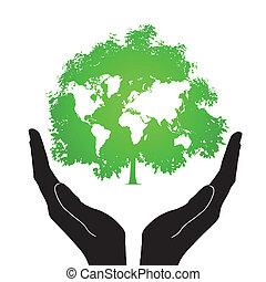 Baum-Ikonen mit Händen