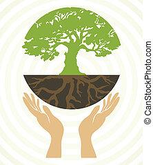 Baum-Ikonen mit Händen. Vector